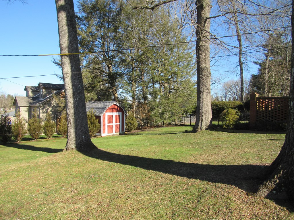 Great level fenced yard with outbuilding